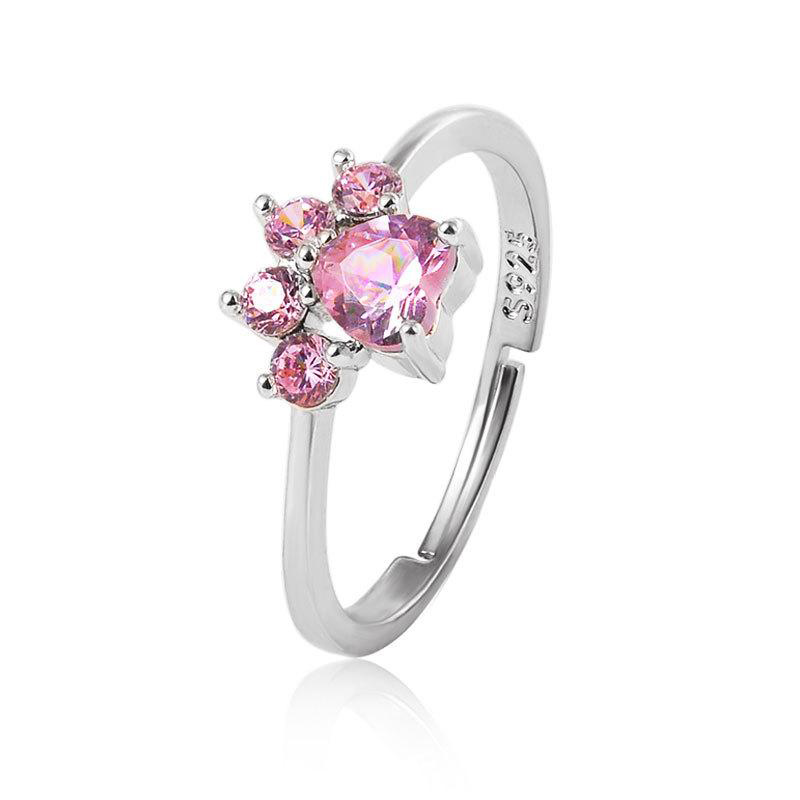 Silver and Pink Paw Print Ring