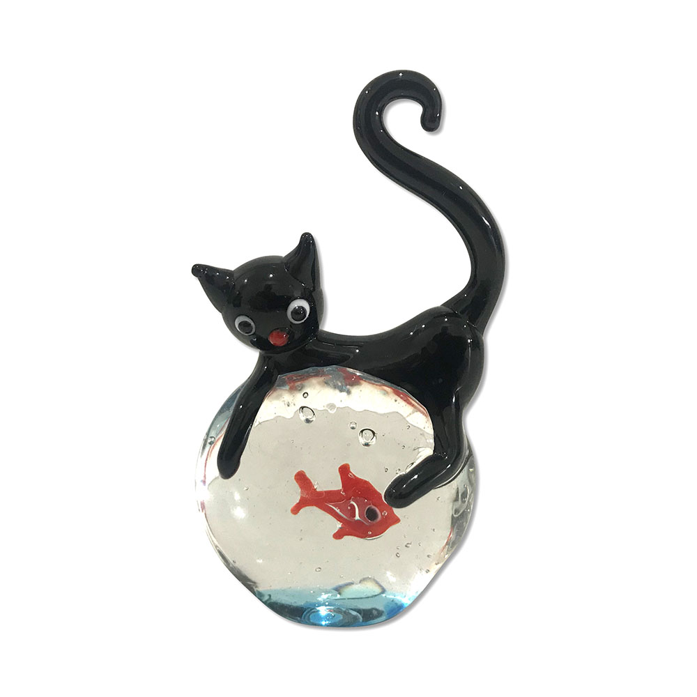 Cute Cat Figurine with Fish