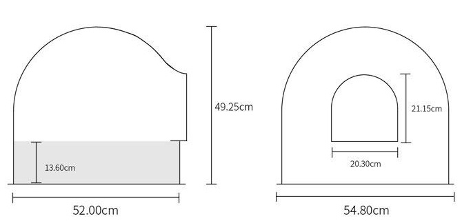 cat igloo front dimensions