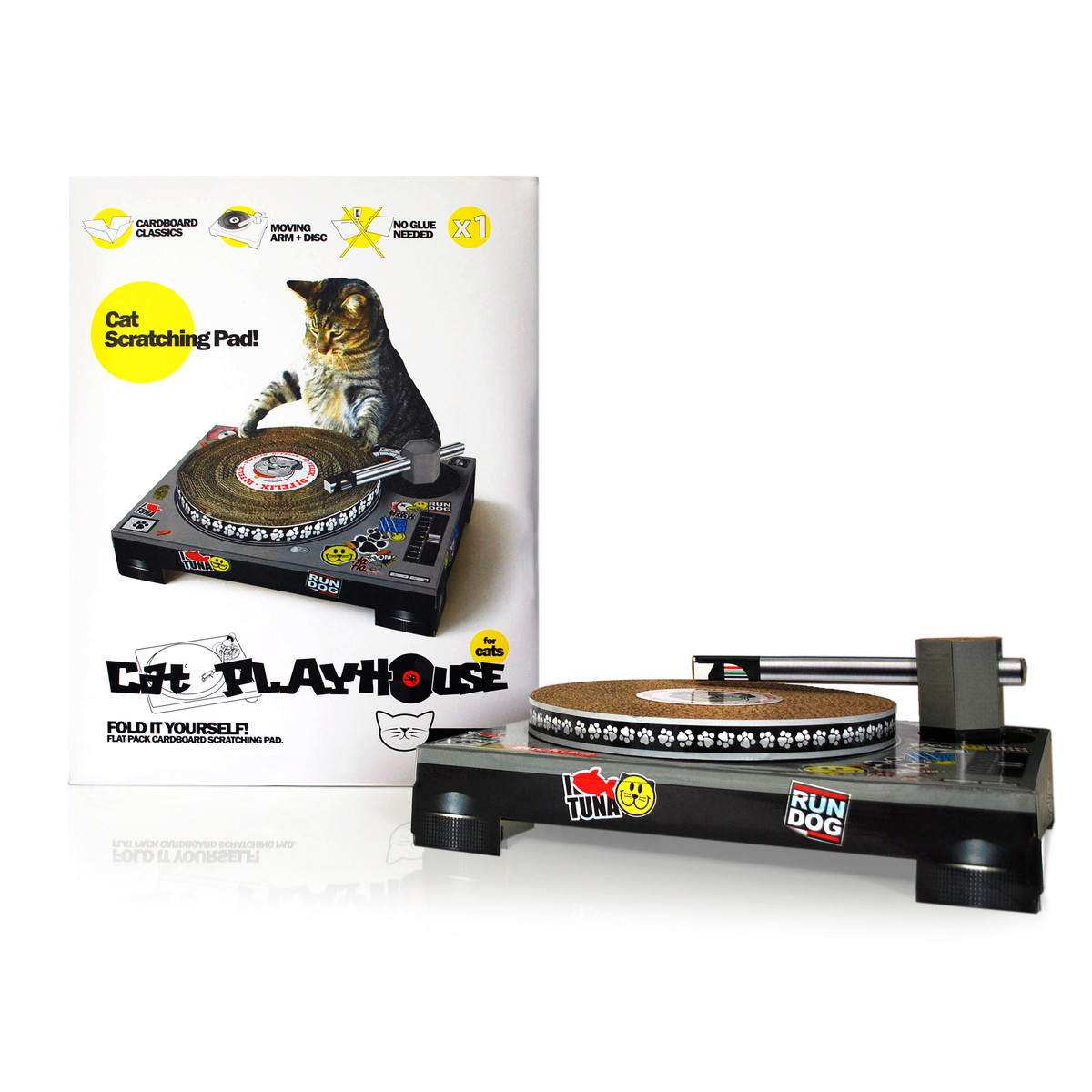 Fun scratching pad for you and your cat - time to unleash DJ Kitty with this spin on the traditional scratcher (pun intended).